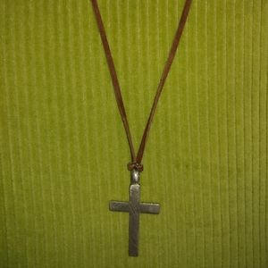 Pewter Cross on Adjustable Leather Chain